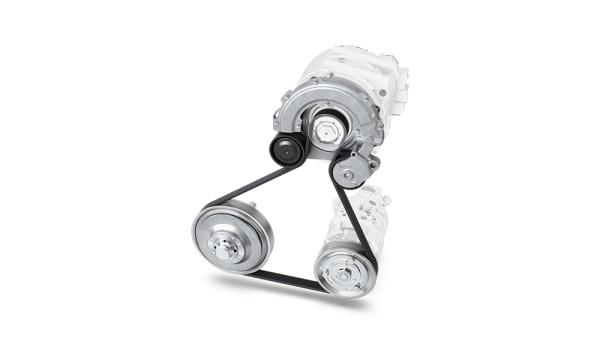 Aggregatetriebssystem für einen P0-Hybrid mit Kurbelwellenentkopplung und Spannsystem