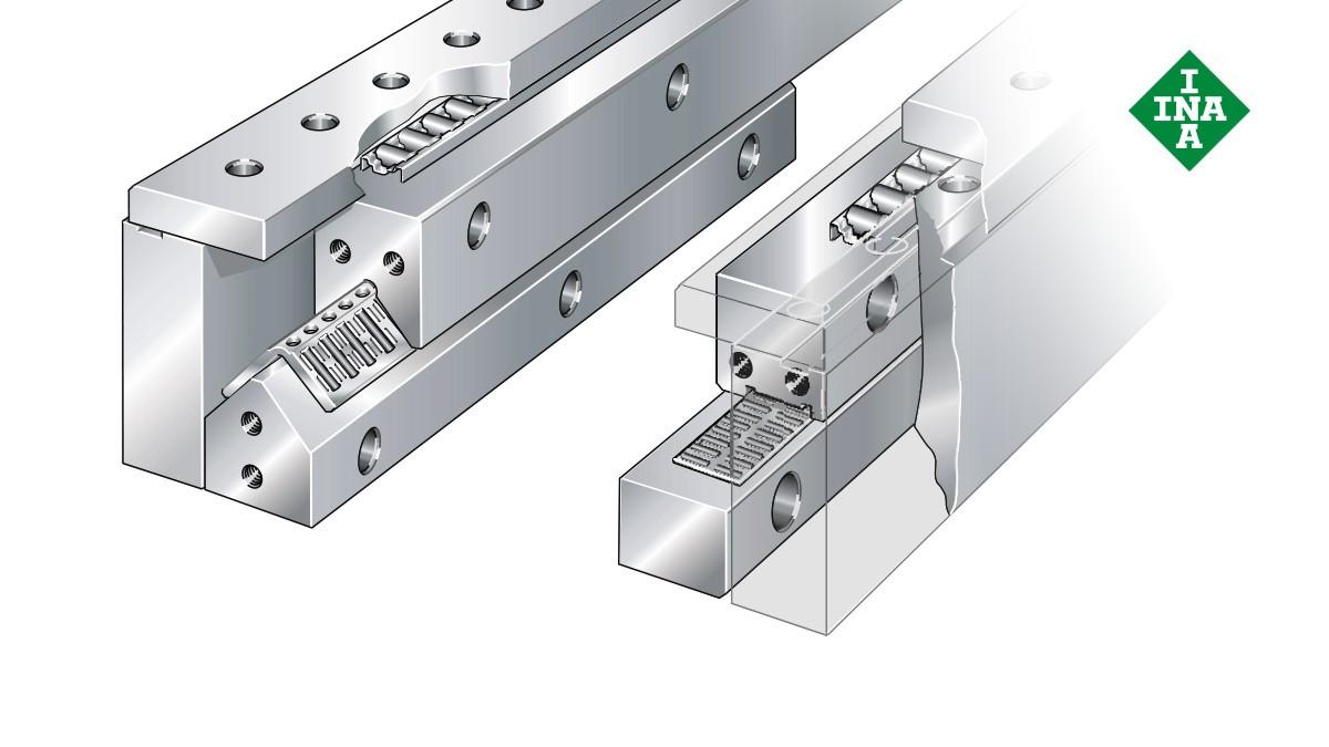 Schaeffler Linearführungen:  Umgriffsystem mit Nadelrollen-und Zylinderrollen-Flachkäfigen